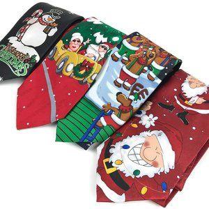 Men's Novelty Christmas Themed Necktie Lot of 4